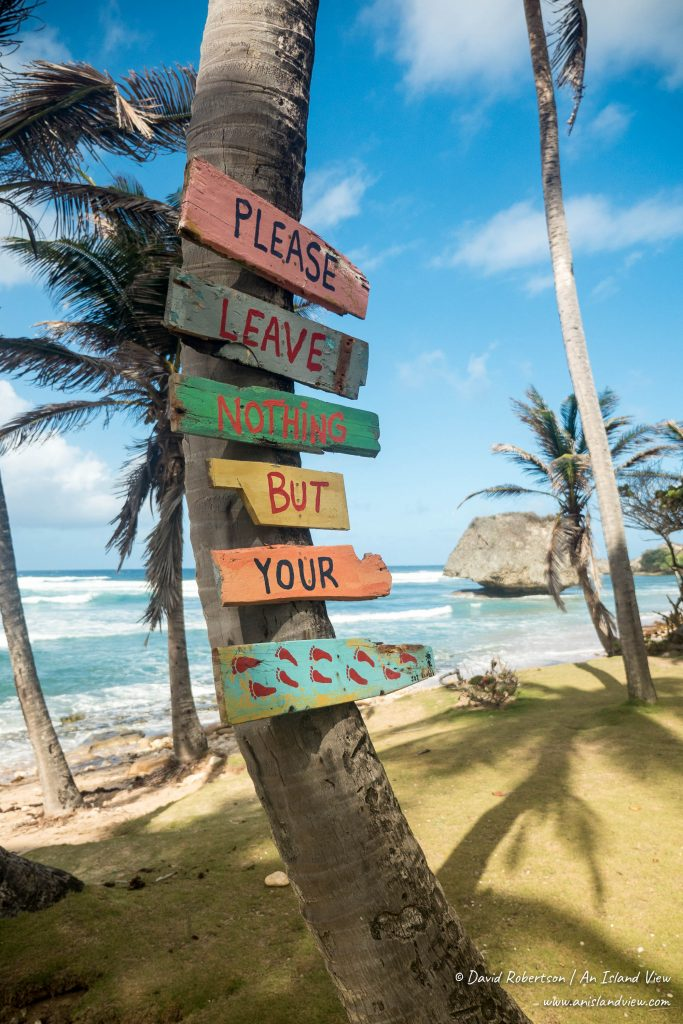 Leave nothing But Footprints sign, Barbados.