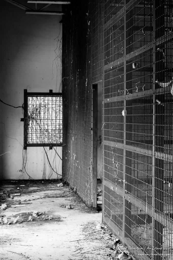 Derelict prison cells.