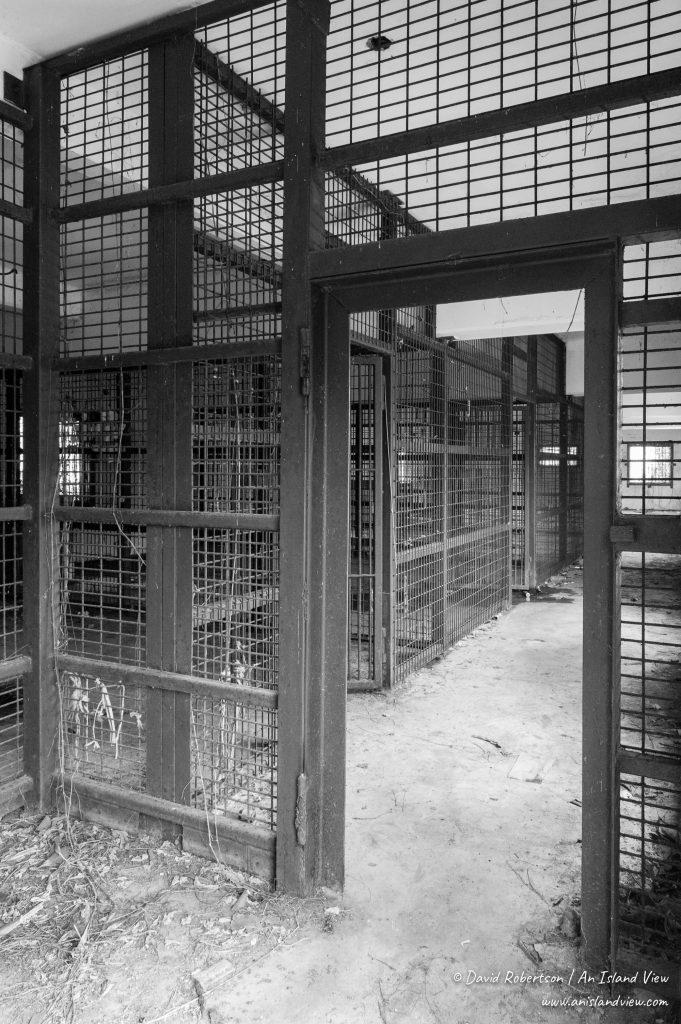 Empty prison cells.