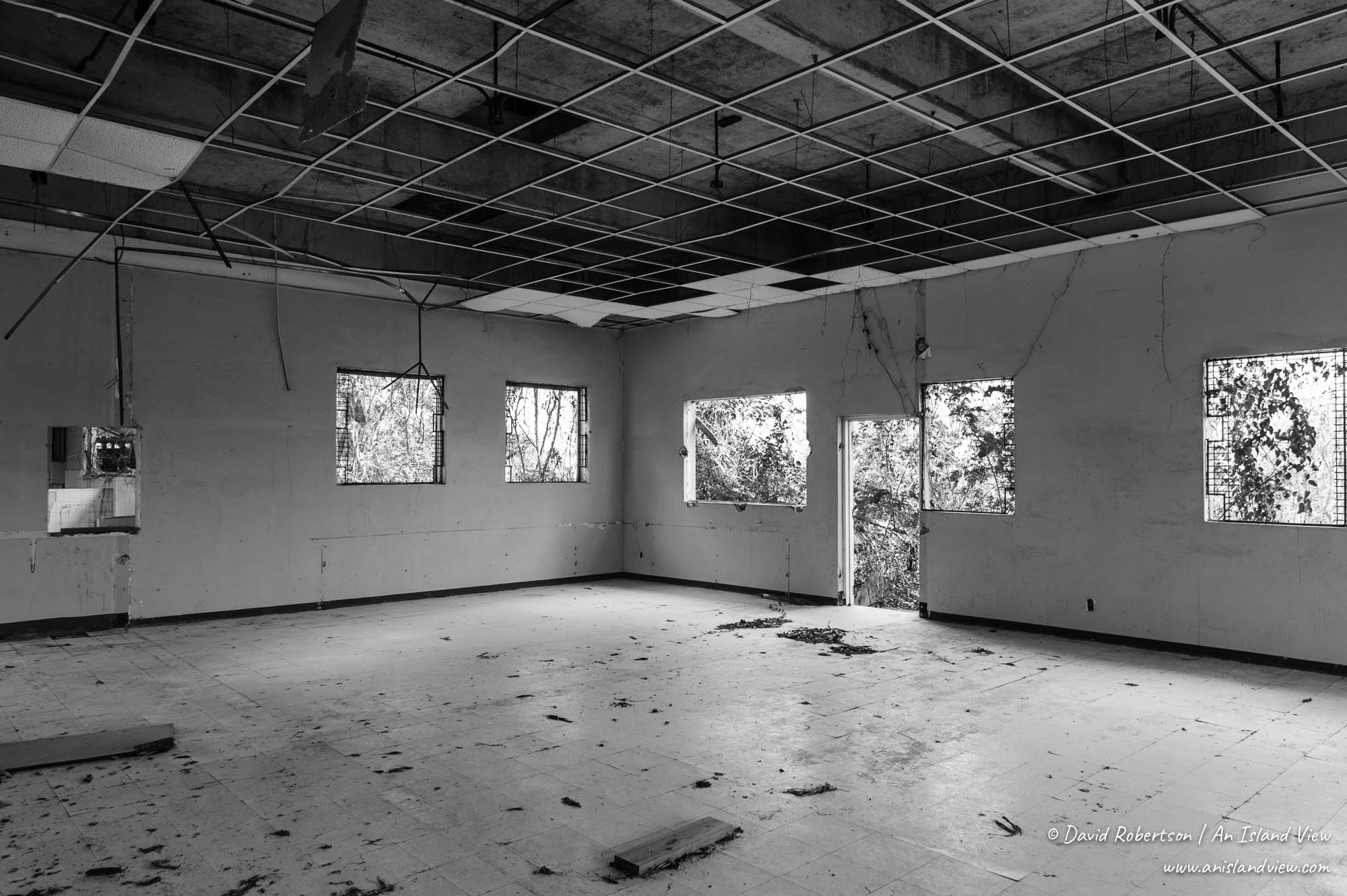 Abandoned navy base buildings.