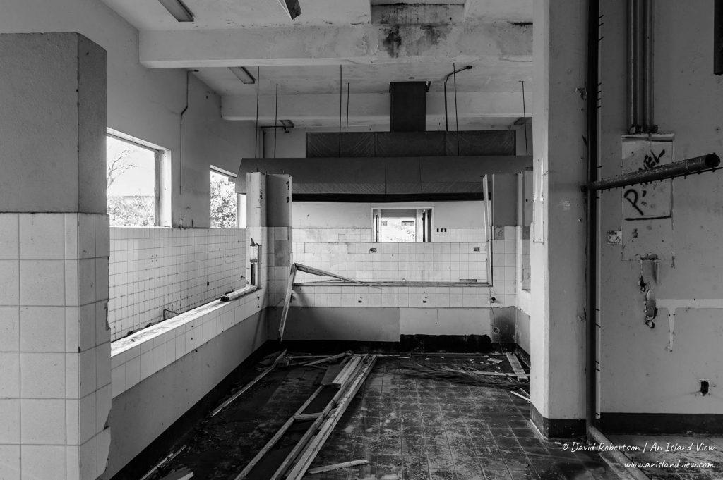 Derelict prison building.