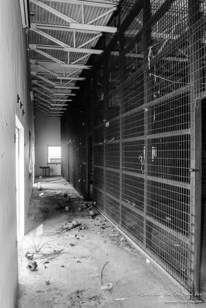 Abandoned prison cells.