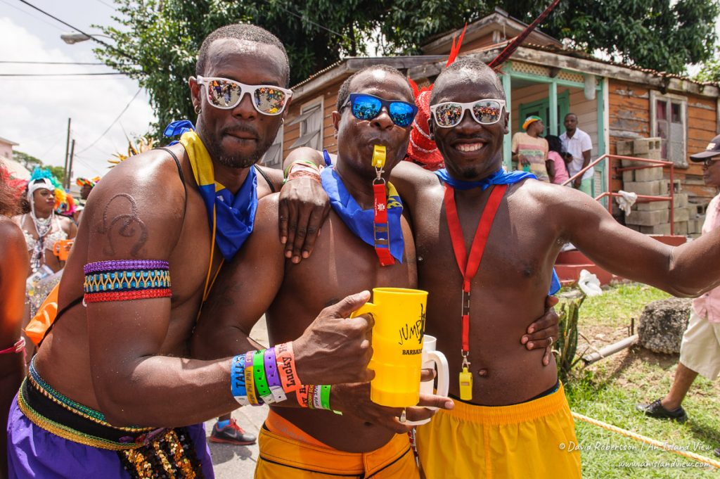 Guys celebrating Kadooment.